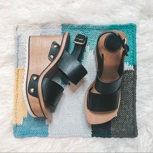 Chloe Valentine Platform Wedge Sandal Black 36/6